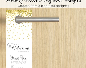25 Wedding Door Hanger- Wedding Hotel Door Hangers- Wedding Do Not Disturb- Wedding Hotel Welcome Bags- Wedding Hotel Gift Bags- Gold Sign