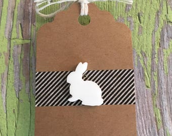 White Rabbit Lapel Pin / Tie Tack - White Laser Cut Acrylic - Bunny - Tack Backing w Clutch Clasp