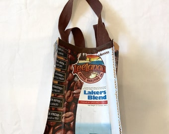 For Michigan Lovers Eco Friendly Purse made with Recycled Leelanau Lakers Blend Coffee bags upcycled repurposed