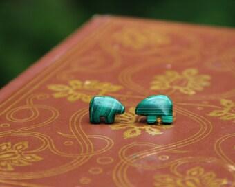 Green Striped Stone Stud Earrings