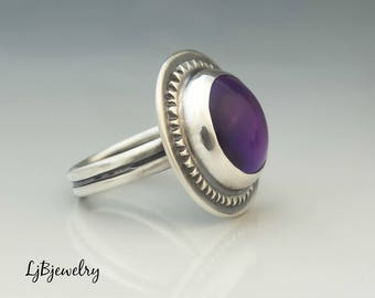 Silver Amethyst Ring, Statement Ring, Sterling Silver, Amethyst, Metalsmith, Metalwork, Handmade Jewelry, Silver Jewelry, Artisan Jewelry