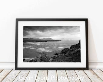 Five Fingers Donegal Ireland  Print, Printable Wall Art, Black and White Photography, Winter Photography, Living Room Wall Decor
