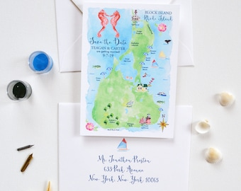 Destination Wedding Save The Date, Illustrated Wedding Map Save The Date, Save The Date Cards, Beach Wedding, Rhode Island Block Island