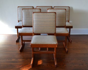 Handcrafted Contemporary Cherry Wood Dining Chairs - Set of 6