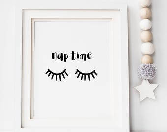 Monochrome Nap Time Sleepy Eyes Print - Nursery Print