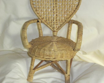 "Miniature rattan chair, heart shaped back, vintage, collectible, 7.25"" x 10.5"" x 5.5"", original"