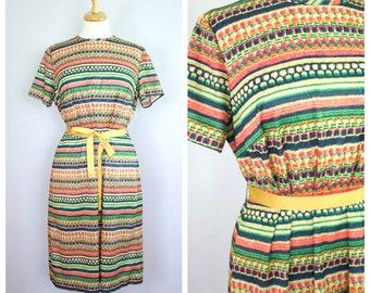 Vintage 1960's/70's Short Sleeve Striped Dress L/XL