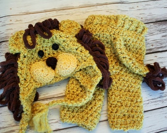 Baby Lion Costume - Lion Hat and Pants Set - Lion Hat - Halloween Baby Costume Set - Lion Hat and Pants with Tail  - by JoJosBootique