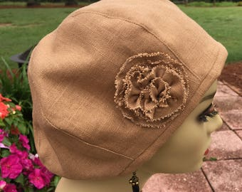 Beret or Tam in Washed Linen