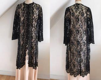 Antique 1800s Black Boudoir Lingerie Gown Victorian Evening Coat Hand Made Silk Chantilly Lace