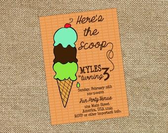 Ice Cream Social Birthday Invitation