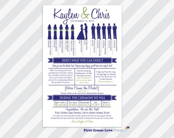 """Customized PRINTABLE Wedding Program ~ """"The Kaylen Combo"""" Design ~ One Sided Program ~ Choose Your Silhouettes ~ 5.5x8.5 size ~ ANY Colors"""
