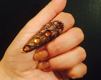 Crystal arrow tip,claw ring,nail guard or Thumb claw Ring,copper color, Swarovski Crystals, 1 pc; adjustable.