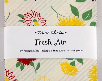 """By The HALF YARD - Fresh Air by American Jane for Moda Fabrics, Item #21670PP Charm Pack, 42 Professionally Cut 5"""" Squares, Floral Patterns"""