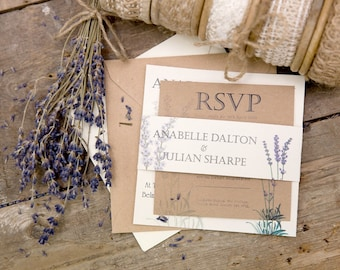 Lavender Wedding Invitation, RSVP & String Tie Envelopes full Set (25)