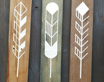 Reclaimed Wood Feather Paintings