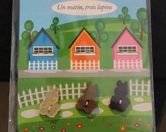 Set of buttons decorative pattern bunnies