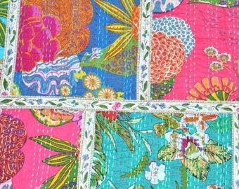 Indian Cotton Patchwork Fruit Print Kantha Quilt Kantha Throw Handmade Kantha Blanket Bed Cover made by kiran