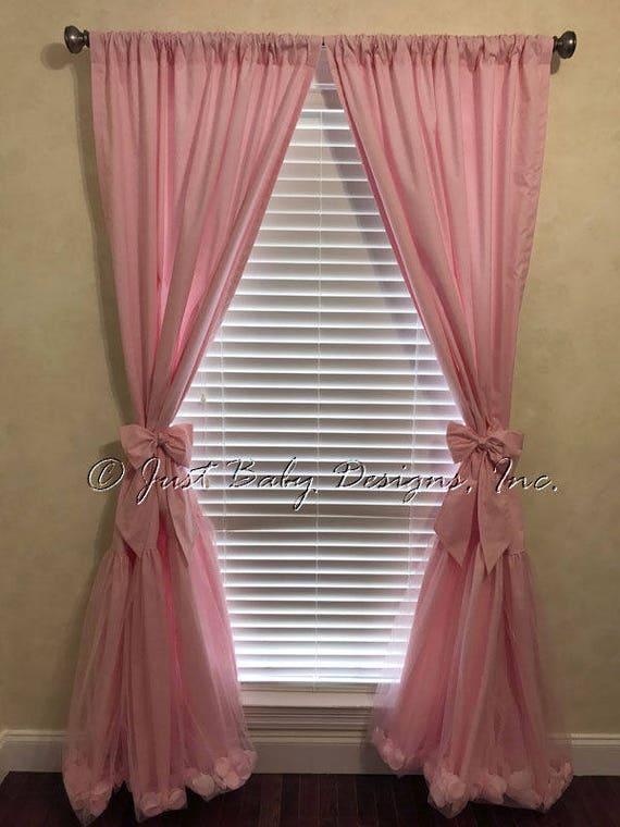 Pink Tulle Nursery Curtain Panels Custom Nursery Drapes