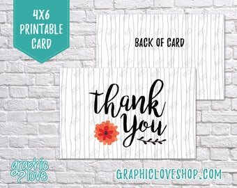 Printable Black and White Flower Thank You Cards | Small Business, Packaging, Thanks | Digital JPG File, Instant Download, Ready to Print