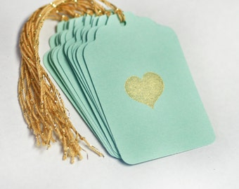 Gold heart Tag Set 12 Blank gift present tag love valentines wedding bridal shower Turquoise