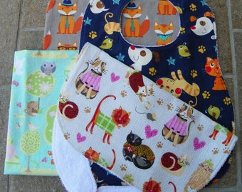 Toddler Child Bib, Choose From 5 Patterns, Cats, Dogs, Woodland Animals, Foxes, Elephants, 1yr-3+, Can Be a Special Needs Child Bib
