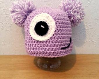 Toddler Monster Hat, Crochet Purple Pom Pom Hat for Girls, Purple Beanie Winter Hat, Cyclops Hat
