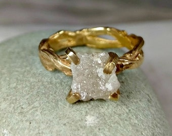 Raw diamond Ring, 3 Carat Rough Diamond Engagement Ring, solid gold and diamond branch ring, diamond twig ring