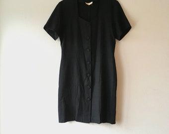 1990s black button down secretary wiggle dress.// size medium