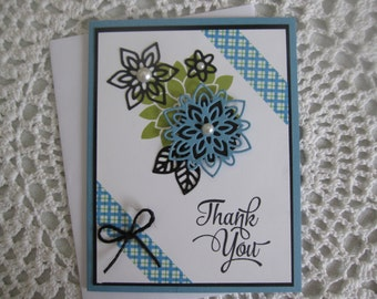Handmade Greeting Card:  Flower Thank You Card