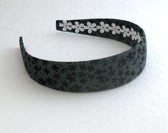 Adult / Women's Fashion Headband ~ Black and Grey Fabric Covered Wide Plastic Headband