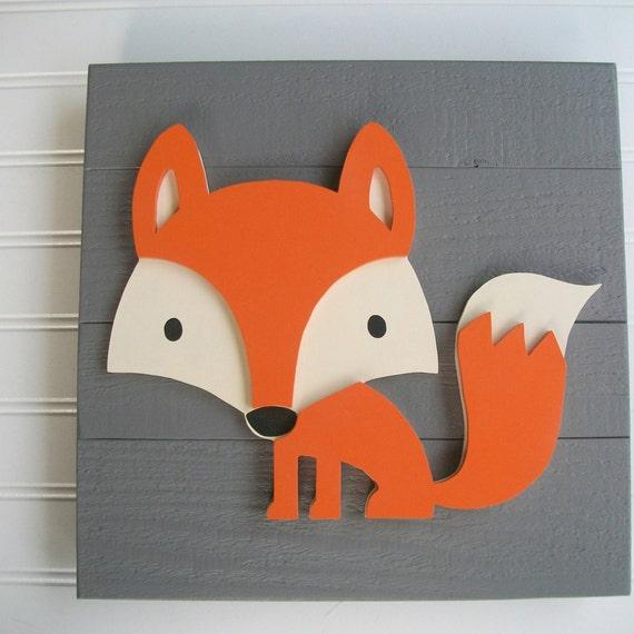 Fox Sign . 12 x 12  3D . Fox Decor . Fox Nursery. Fox Sign .Tribal Nursery .Wood Fox . Woodland . Tribal Nursery Art .