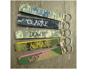 Military Wristlet, Army, Navy, Air Force, Marine Name Tape Key Chain, Personalized Military Key chain, Military Key Fob