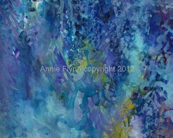 "Modern Art Print-- Archival Print of Original Painting-- ""Wisteria in Soft Blue"""