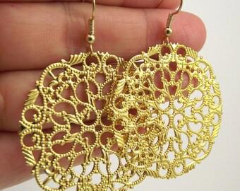 Large Round Gold Filigree Earrings, Gold Earrings, Gold Medallion Earrings