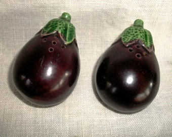 Vintage EGGPLANT  S & P SHAKERS, Charming Pottery Pieces, Figural Eggplants, Japan Made Collectibles