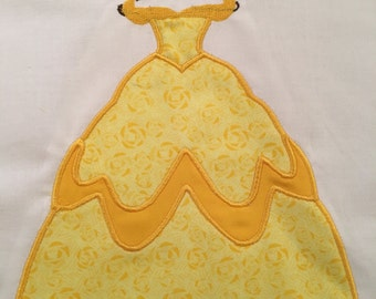 Disney Princess Belle Dress MACHINE Applique Pattern - From Disney's Beauty and the Beast