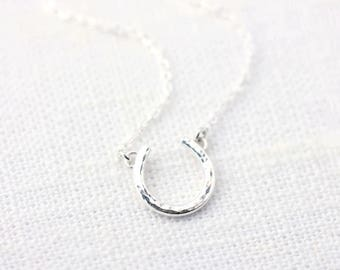 PURE SILVER Horseshoe Necklace • Hammered Horseshoe Necklace • Lucky Necklace • Fine Silver and Sterling Silver Horseshoe Necklace
