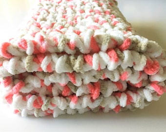 Crochet Baby Blanket, Handmade Blanket, White Orange Baby Blanket, Crochet Blanket, Baby Blanket, Newborn Blanket Gender Neutral Photo Prop