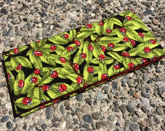 Magic Wallet - Billfold Red Ladybugs on Green