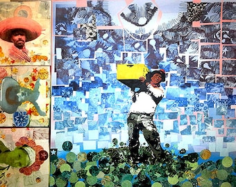 Generations field worker mixed media paper on wood collage latino labor laborer