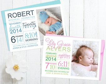Birth Stats Announcement Personalized with Photo and Baby's Birth Statistics - Modern Birth Announcement Card Design - Baby Boy or Girl