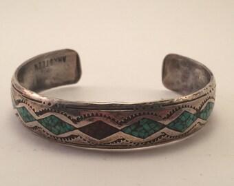 Vintage Ahasteen Navajo Chip inlay cuff