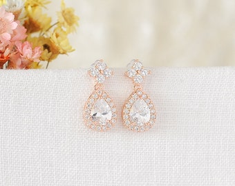 Rose Gold Bridal Earrings, Wedding Dangle Earrings, Crystal Teardrop Dangling Earrings, Clover Leaf Drop Earrings, Wedding Jewelry, RENEE