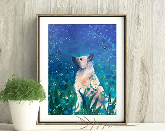 Summer Sky, Digital download-only image, Printable art, Dog print, Handmade, All the proceeds will be donated to rescue organizations