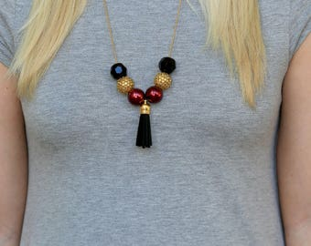 Game Day Necklace, Maroon and Gold Necklace, College Necklace, College Jewelry, University Necklace, Football Necklace, Graduation Gift