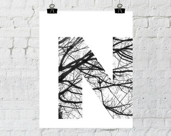 "Black & White Letter ""N"" Tree Branch Art Print. 8x10 Typographic Home Decor. Instant Digital Download Printable Wall Art-ADOPTION FUNDRAISER"