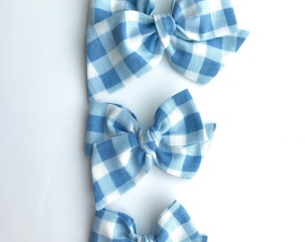 Blue gingham hand tied bow •large, medium, or small• headband or hair clip