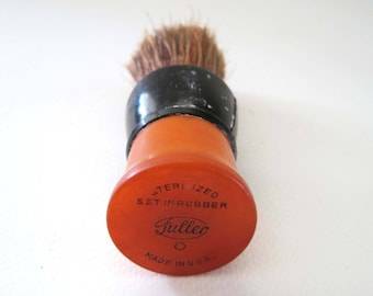 Father's Day, Vintage Fuller Brush Shaving Brush, Set in Rubber,  Butterscotch Bakelite with Natural Bristles, Made in USA, Gift for Him