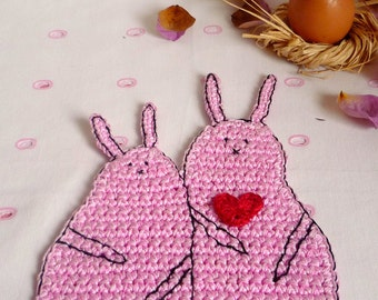 Rabbit Coaster - Crochet Coasters - Bunny Coaster - Animal Coaster - Kitchen Decor - Easter Table Decor - Wedding Gift - Housewarming Gift